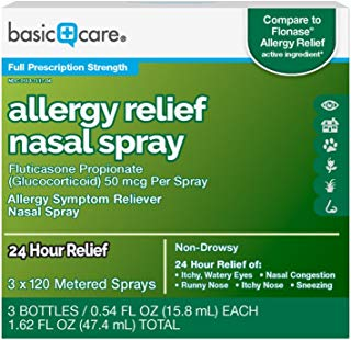 Basic Care Allergy Relief Nasal Spray, Fluticasone Propionate (Glucocorticoid) 50 mcg Per Spray, 3 Bottles – 120 Metered Sprays 0.54 FL OZ Each