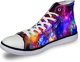 Cozeyat Women's Canvas Sneakers Galaxy Printed High Top Lace up Casual Shoes