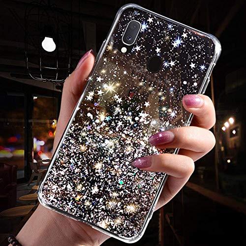 Handyhülle Kompatibel mit Samsung Galaxy A20e Glitzer Hülle Silikon Tpu Glänzend Bling Stern Muster Shiny Ultra dünn Weiche TPU Schutzhülle Stoßfest Bumper Case Handytasche,Schwarz