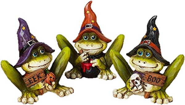 Gerson Spooky Swamp Frogs Halloween Figurines Set Of 3
