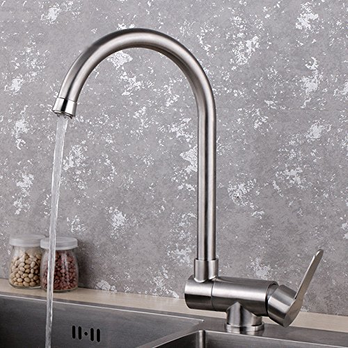 Keukenkraan universeel draaiend 304 roestvrij staal keuken hete en koude waterkraan vouwend draaiende eengatmontage waterkraan binnen raam anti-functie wastafel waterkraan D