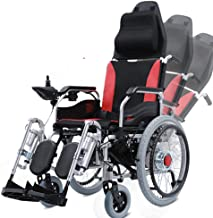 Heavy Duty Electric Wheelchair with Headrest,Foldable Folding and Lightweight Portable Powerchair with Seat Belt,Electric Power Or Manual Manipulation,Adjustable Backrest and Pedal,Joystick