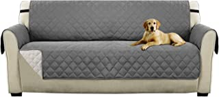 Reversible Sofa Cover for Extra-Wide Couch With Elastic Straps, Water Resistant Sofa Slipcover Furniture Protector Anti-Slip Foams Wide Couch Covers for Pets (XL Sofa: Gray/Beige)-86