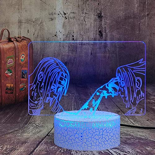 GEZHF 3D Optical Illusion LED Night Light Anime Naruto Nightlight Itachi Uchiha & Uchiha Sasuke Classic Modeling Lamp Children USB Lamp 16 Color Change Remote Control -16 Colors + Remote