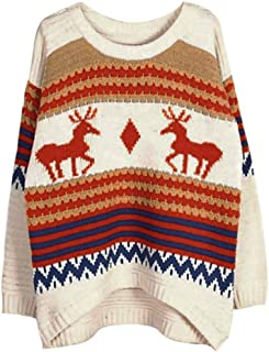 STORTO Women Christmas Ugly Sweater Retro Reindeer Rough Crochet Baggy Pullover Tops