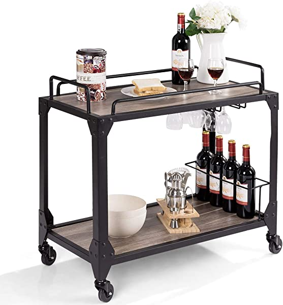 Giantex Bar Serving Cart 2 Tier Rustic Kitchen Bar Cart Antique Metal Frames Wine Compartment Rack With Universal Caster Wheels For Kitchen Dining Room Furniture Commercial Or Home Use Wood