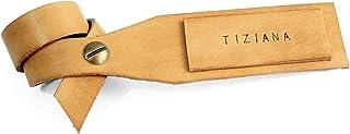 Cartellino in cuoio personalizzato con il tuo nome. Etichetta di cuoio, targhetta di cuoio conciato al vegetale per borsa....