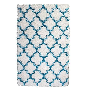 Soft & Plush Geometric Trellis Large Shag Rug for Bedroom | Living Room | Dining Room 7' 10  x 9' 10 , White & Turquoise