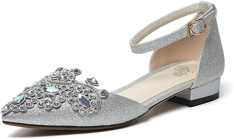 Brautschuhe - - - flache Wohnung mit dem Wort Deduktion Prinzessin Diamant Kristall Hochzeit Schuhe (Farbe   Silber, Größe   34-schuhe long220mm) 1b8