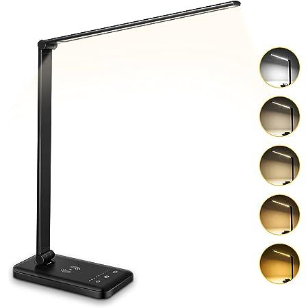 Wilktop Lampada da Scrivania a LED , Ricarica Wireless da 6 W e Lampada di Lettura con Protezione Degli Occhi per Porta di Ricarica USB, 10 Livelli di Luminosità, Lampada da Tavolo a 5 Colori
