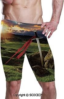 Men's Printed Jammer Quick Dry Swim Shorts Arthur Camelot Legend Myth Swimsuit