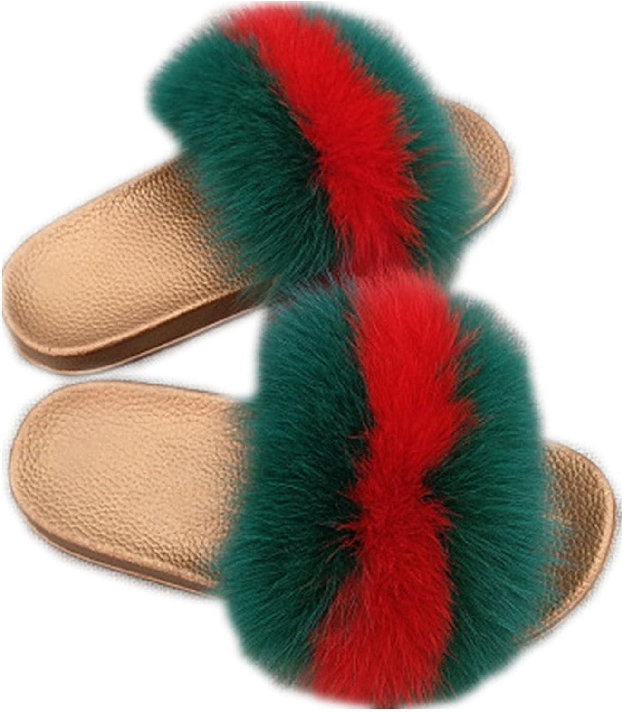 QMFUR Women Real Fox Fur Open Toe Slide Slippers On Sandals Multicolor (7, gold-Green red)
