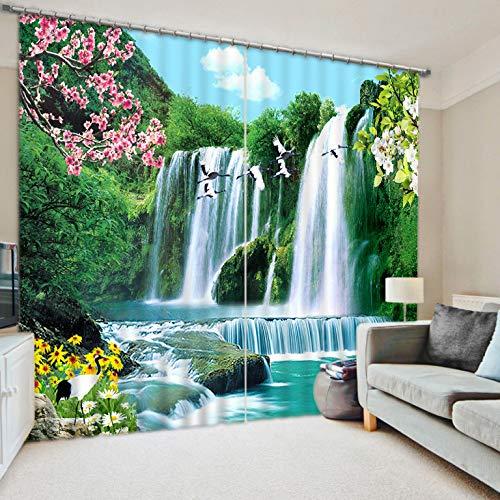 qcl3d Vorhänge Vorhang Gardinen Bürovorhänge_3D Vorhänge Wasserfälle Kräne Wasser und Reichtum dreidimensionaler Druck Wohnzimmer Arbeitszimmer, Breite 150x hoch 166 (zweiteilig)