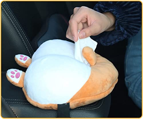 high quality Creative Tissue Box Cover popular Corgi Butt Shaped Paper Holder Case Cute Plush Toy Paper Tissue Holder Storage Box Wrapper for Car outlet sale Home Bathroom Kitchen Office (Yellow) online
