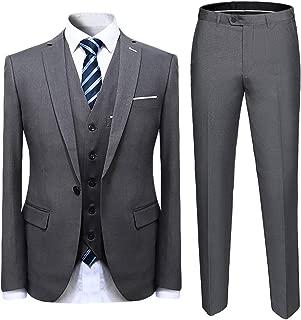 Mens Suit Solid Color Formal Business One Button 3-Piece Suit Wedding Slim Fit