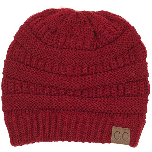C.C Trendy Warm Chunky Soft Stretch Cable Knit Beanie Slouchy Skully Winter Hat Red