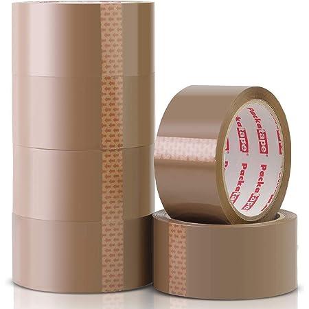 Packatape Lot de 6 rouleaux de ruban adhésif Marron 66 m x 48 mm