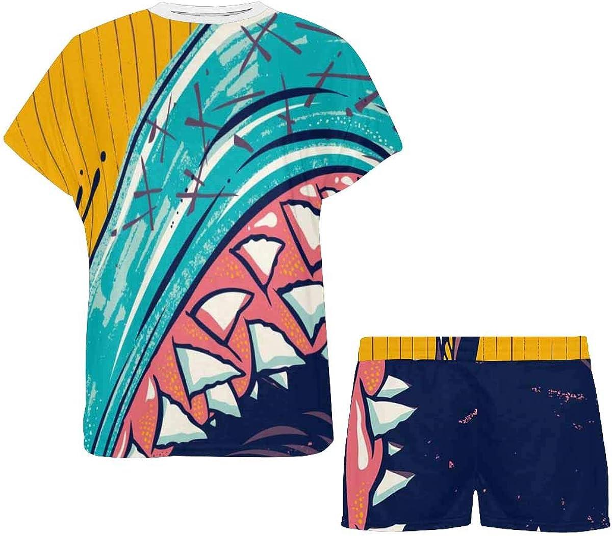 INTERESTPRINT I and My Beast Shark Friend Women's Pajamas Short Sets Round Neck Short Sleeve Sleepwear