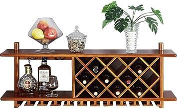 HTDZDX Wine Rack Wall Mounted Solid Wood Wine Cabinet   Wine Rack   Hanging Wine Glass Holder  Stemware Holder Wine Bottle...