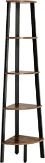 VASAGLE Industrial Corner Bookshelf, 5-Tier Corner Shelf, Plant Stand Wood Look Accent Furniture with Metal Frame for Home and Office ULLS35X