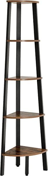 VASAGLE Industrial Corner Shelf 5 Tier Bookshelf Plant Stand Wood Look Accent Furniture With Metal Frame For Home And Office ULLS35X Rustic Brown