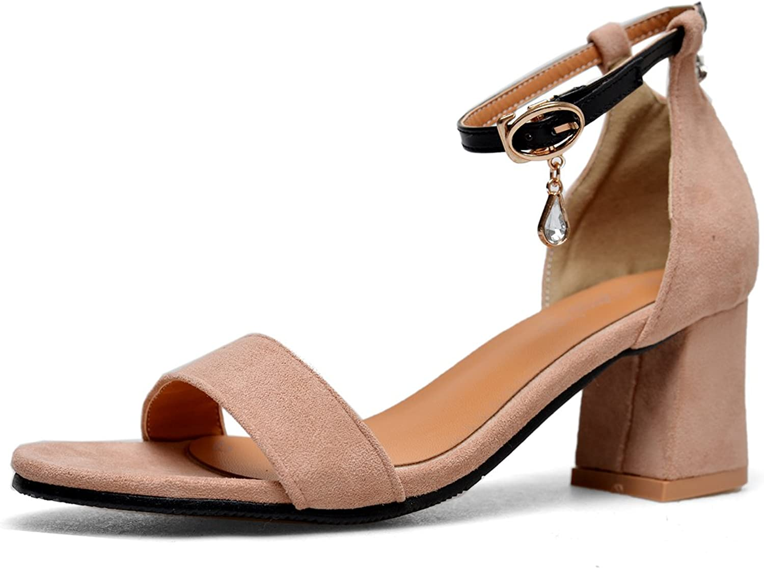 CHENSIR9 Women's Heeled Sandals Ankle Strap Chunky High Heels Open Toe Low Dress Sandals Party shoes
