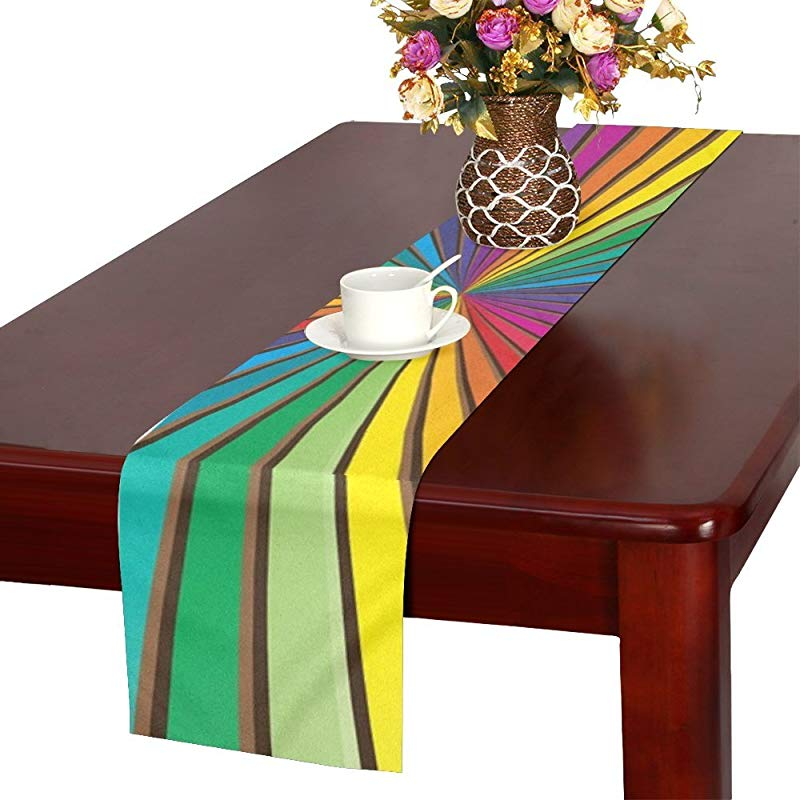 QYUESHANG Sunburst Color Rainbow Rays Table Runner Kitchen Dining Table Runner 16 X 72 Inch For Dinner Parties Events Decor