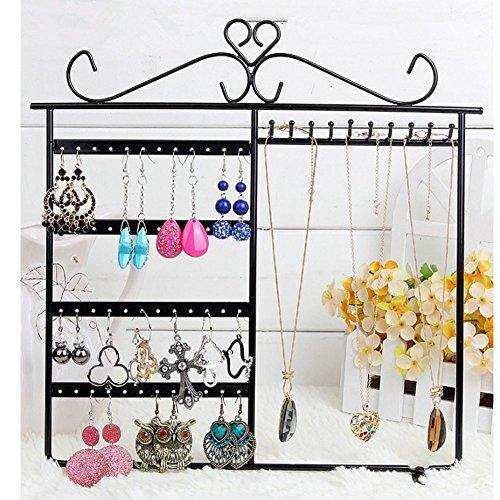 Organizador de joyas, 48 agujeros de metal para exhibición de joyas, collares, pendientes, pulseras, colgadores, soporte de pared (negro)