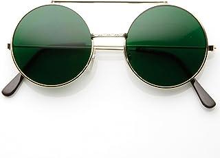 90eebc15f09 Limited Edition Color Flip-Up Lens Round Circle Django Sunglasses (Green)