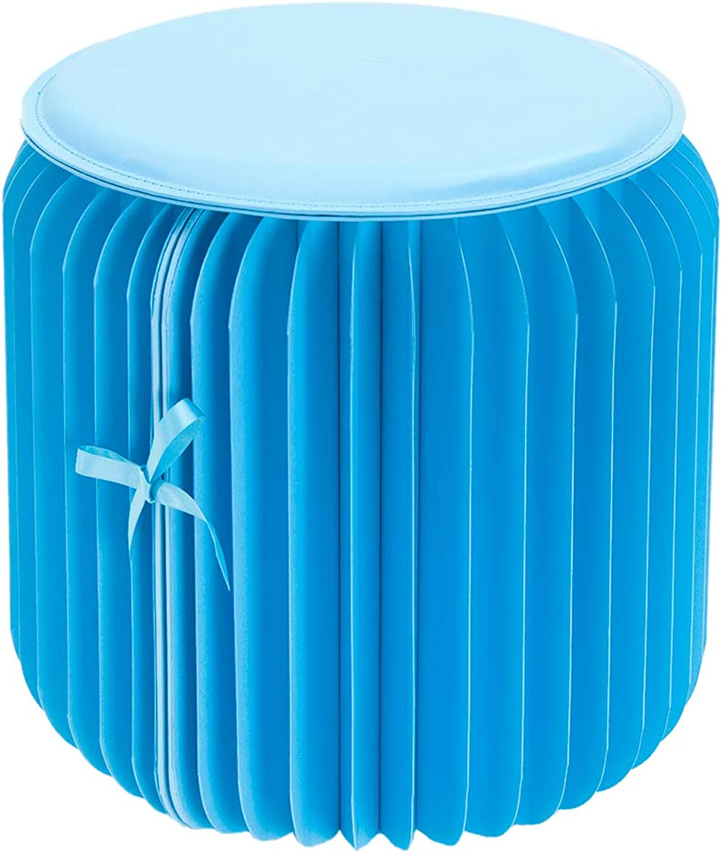 Fenteer Modern Paper Furniture Multifunctional Foldable Predable Kraft Paper Stool - bluee, 28cm