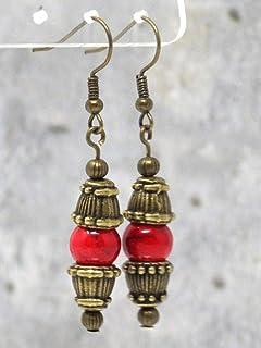 Orecchini rossi stile Zen bronzo antico con perle turchesi ricostituite