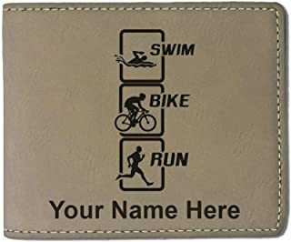 Faux Leather Wallet, Swim Bike Run Vertical, Personalized Engraving Included