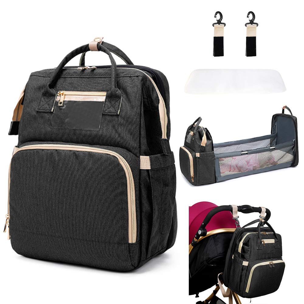 Diaper Bag Backpack with Changing Station, 3 in 1 Baby Bags for Girls Boys, SanLead Portable Foldable Mommy Bag Black Baby Items Newborn Essentials