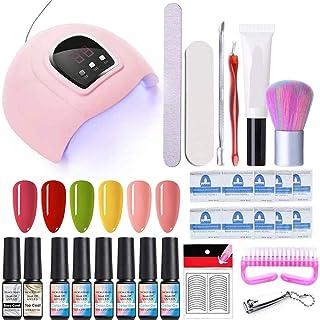 NICOLE DIARY Kit de inicio de esmalte de uñas de gel con lámpara de uñas de luz UVLED de 54W gel de 6 colores y conjunto...