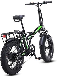 LAYZYX 500W eléctrica Plegable Bicicletas, 48V para Hombre Bicicletas 7 Velocidad Variable 4 Pulgadas Fat Tire Camino de l...