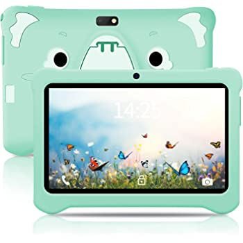 [2020 New] Kids Tablet, Educational Tablets for Kids, 7 inch Android 9.0 Google Certified Tablet, with Shockproof Case Learning App WiFi Dual Camera, 32 GB, IPS Safety Eye Protection Screen - (Green)
