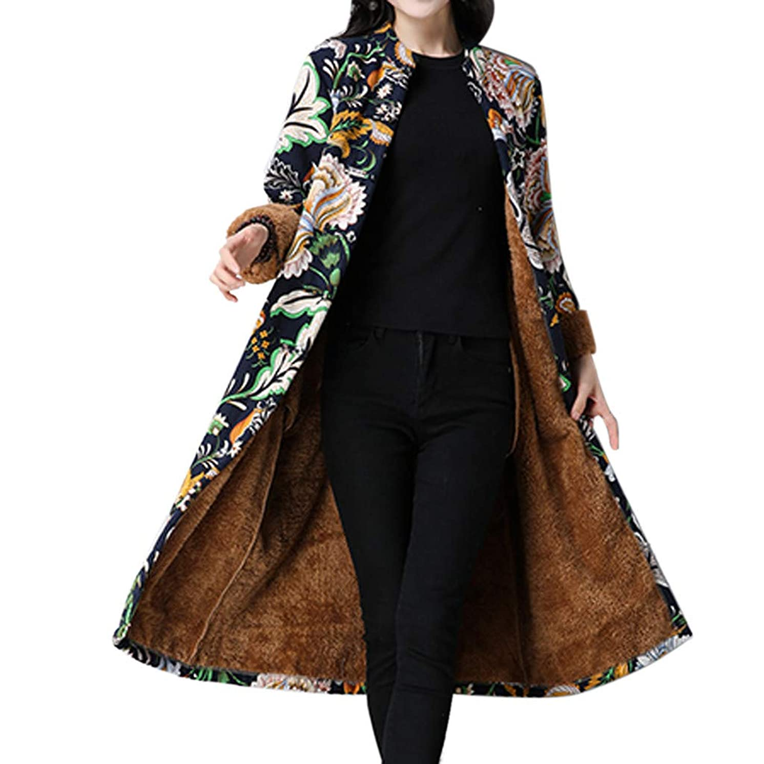 JOFOW Womens Shirt Jacket Long Cardigans Flowers Print Ethnic Fleece Lined Warm Loose Coats Plus Size