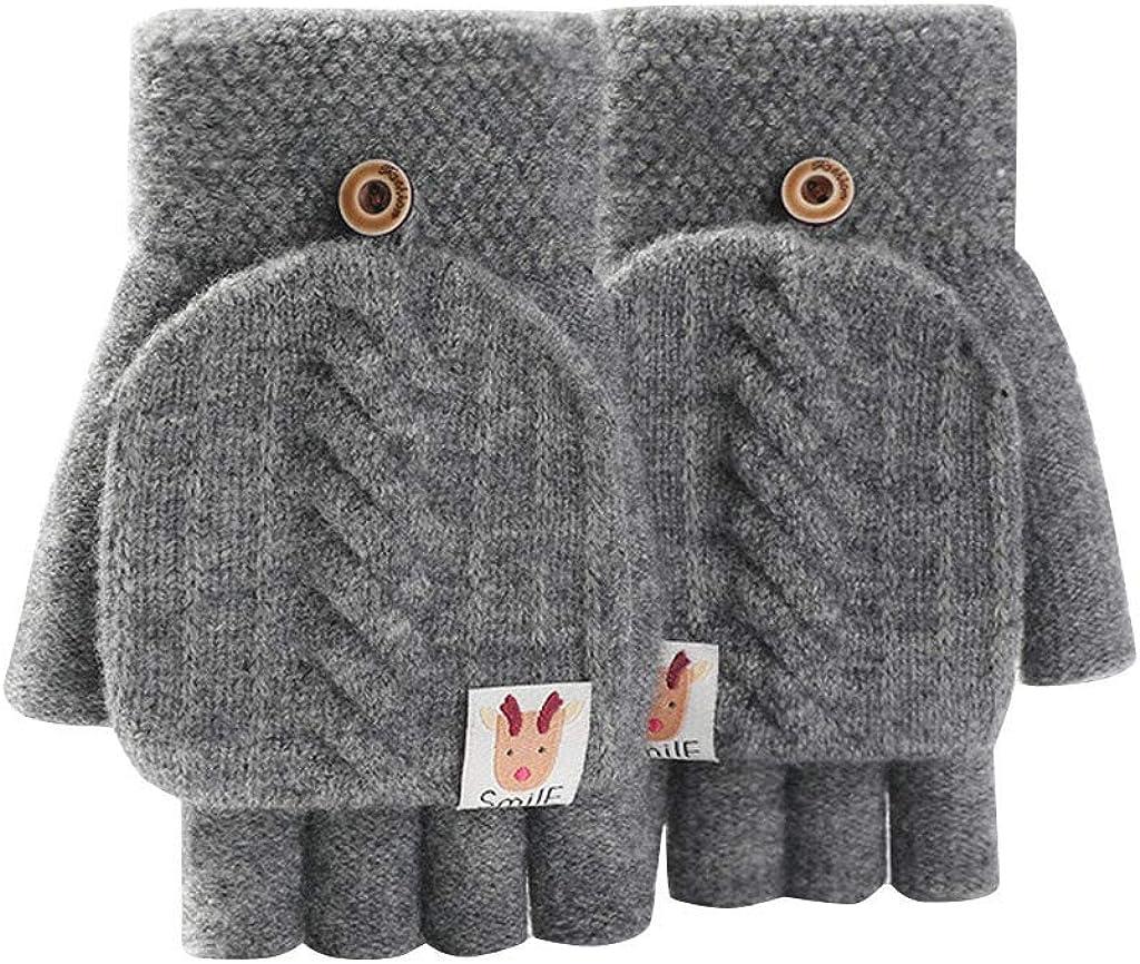 Jchen Brand new TM Fashion OFFicial Women Cute Cartoon Gloves Half Warm Winter Fin