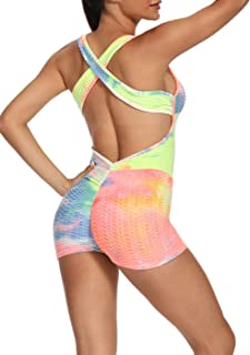 niyokki Sexy Bodycorn Jumpsuits for Women, Tie Dye Workout Yoga Shorts for Running Athletic Sports