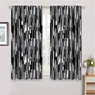 Black and White Room Darkening Blackout Drapes Barcode Pattern Abstraction Vertical Stripes in Grayscale Colors Blackout Curtains for Bedroom W85 x L85 Inch Black Grey White