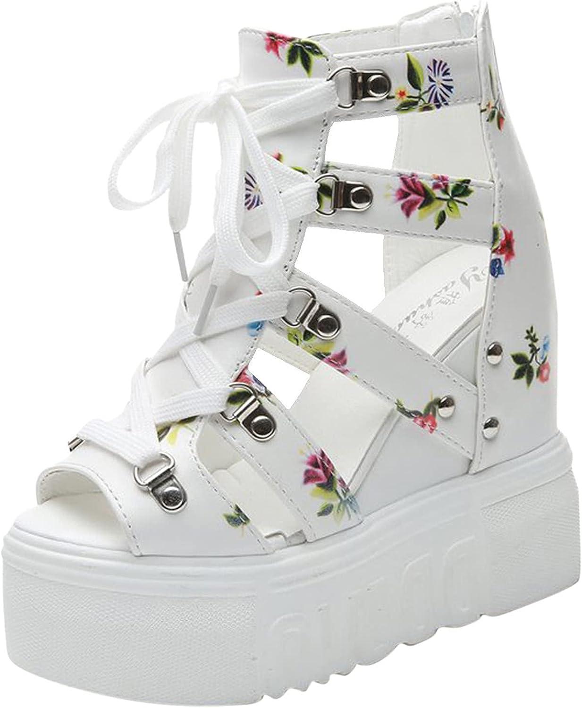 ZiSUGP Women's Ladies Wedge Platform Peep Toe Buckle Strap Sandals Shoes