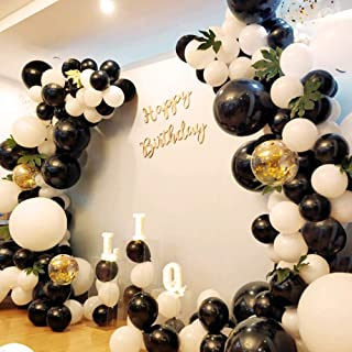 Birthday 130Pcs10In Black White Gold Balloon Garland Arch Kit Turtle Leaves Wedding Baby Bridal Shower Corporate Events Bachelor Party Backdrop Decorations Graduation Anniversary Halloween Party Decoration