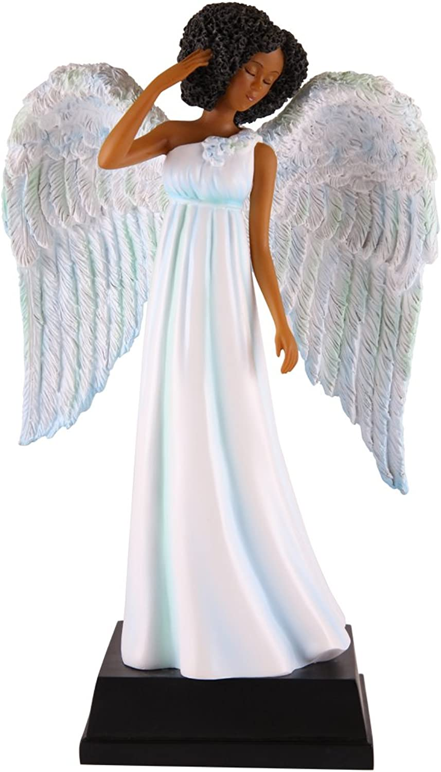 African American Expressions - Light bluee Angel Polyresin Figurine (5.5  x 2.75  x 8.75 ) FAN05Brand change to African American Expressions