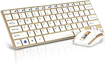 Wireless Keyboard and Mouse Set, Keyboard and Mouse Combo, 2.4GHz Wireless Simple Connect, Gold