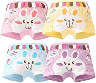 XM-Amigo - Pack de 4 calzoncillos de algodón para niñas pequeñas (talla 2-10 años)