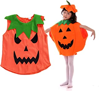 LXXIASHI Toddler Halloween Pumpkin Costumes Baby Kids Velvet Vest Dress Top + Hat + Shoes Outfits Cosplay Suit Clothes