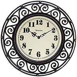 Westclox, Bronze 32021 Round Filigree Rubbed Clock, 12-Inch