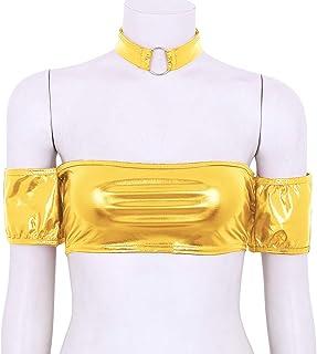 bde29d862c9714 iiniim Women s Non Padded Off The Shoulder Tube Top Bandeau Strapless Metallic  Bralette