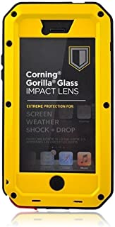 3C-Aone iPhone 5C Case,Built-in Glass Luxury Aluminum Alloy Protective Metal Extreme Shockproof Military Bumper Heavy Duty Cover Shell Case Skin Protector for Apple iPhone 5C (Yellw)