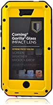 iPhone 5S Case,Mangix Gorilla Glass Luxury Aluminum Alloy Protective Metal Extreme Shockproof Military Bumper Heavy Duty Cover Shell Case Skin Protector for Apple iPhone 5/5S (Yellow)